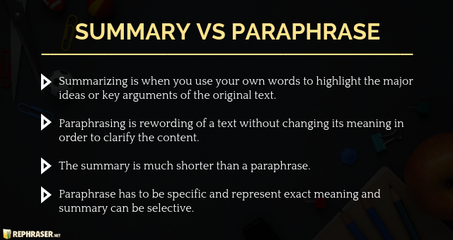 difference between paraphrasing and summarizing